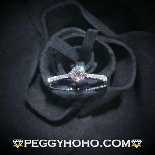 【Peggyhoho】 全新18K白金 ((單粒24份)) 鑽石配微鑲小鑽共30份4爪戒指| GIA系列 |超值GIA證書