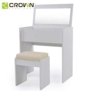 Dressing table with foldable mirror + stool