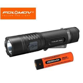 Folomov TOUR B4 USB 充電 美國名廠 CREE XP-L 1200流明 LED Flashlight 電筒 ( 跟 18650 ) - 原裝正貨