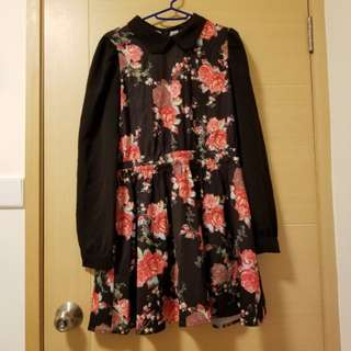 Bread n butter floral black dress one piece 連身裙
