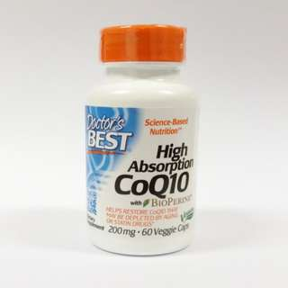 Doctor's Best, High Absorption CoQ10 with BioPerine, 200mg, 60 Veggie Caps