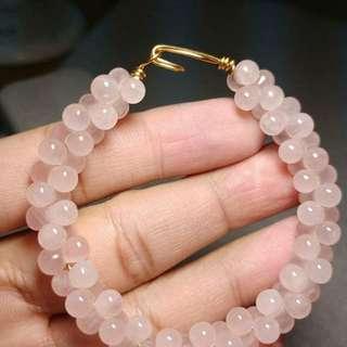 粉水晶葡萄串手環    手圍16