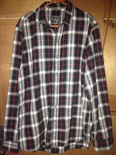 Flannel black and maroon S/X supply.co