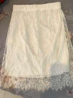 White Brukat Skirt