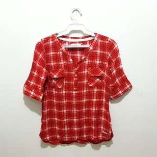 Red checkered polo blouse
