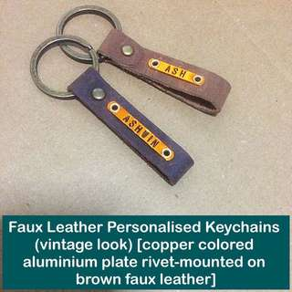 Faux Leather Personalised Keychain [fob synthetic leather vintage look aluminium faceplate rivet-mount unisex gifts handmade uncle.anthony uncle anthony uac] FOR MORE PICTURES & DETAILS, GO HERE: 👉 http://carousell.com/p/145783071