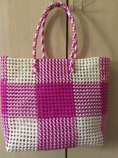 New Weaved White Pink Nylon Carrier Basket