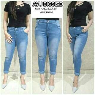 Celana jeans wanita Jumbo Ayu big jeans jumbo polos jeans lipat big