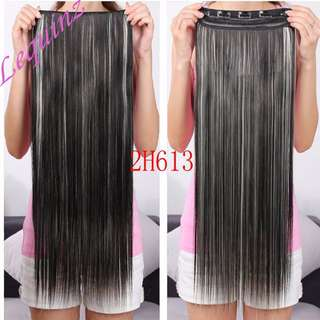 Clearance Sales !  Black and blonde MIx Highlights 5 Clips Straight Hair Extensions Clip On