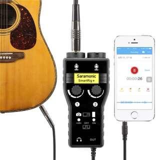 "Saramonic SmartRig II XLR Mic & 1/4"" Guitar Adapter with Phantom Power Preamp for Smartphones"