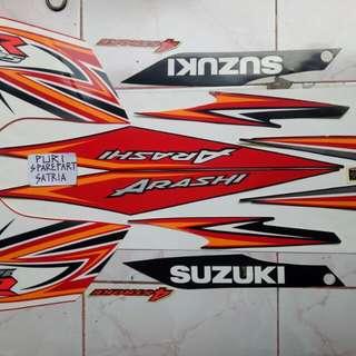 Stiker / Stripping Set Motor Suzuki Arashi 125 Merah Hitam Original SGP