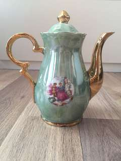 Vintage Porcelain Teapot Mint Green/Gold