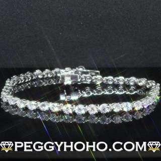 【Peggyhoho】全新18K白金4卡6份真鑽石配馬眼花手鍊 手鏈|特色 Tiffany 馬眼小花款 |靚石渾身3爪手鍊