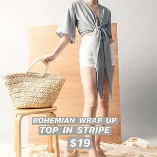 INSTOCKS Bohemian Wrap Up Top In Stripe