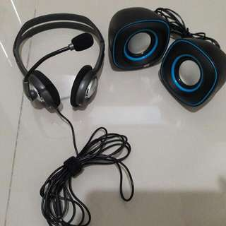 headset and speakers