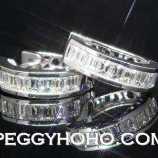 【Peggyhoho】全新18K白金 1卡31份超閃真鑽石圈耳環一對|經典系列 | 型格罕有方石圈耳環