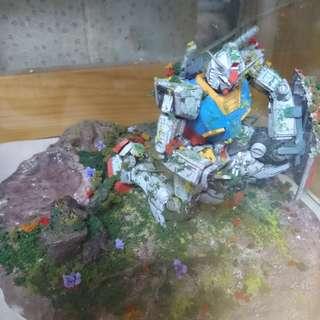 Bandai 1/100 MG高達 Gundam 模型 情境 完成品
