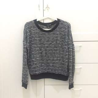 Knit sweater bw monochrome F21 forever 21 oversized