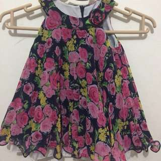 American Princess Floral Pleated Chiffon Dress 18mos