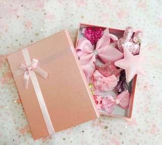 女童粉紅色系列髮夾禮盒