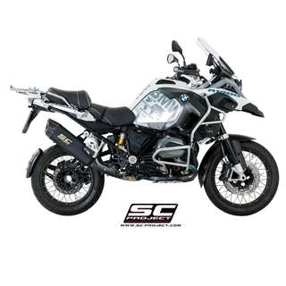 SC PROJECT Adventure Muffler - Matt Black edition Black titanium with carbon cap, high temperature ceramic paint coating, matt black color on BMW - R 1200 GS '17-18 (LTA APPROVED)