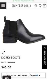 "Black pointed Lipstik ""dorky"" leather heeled boots"