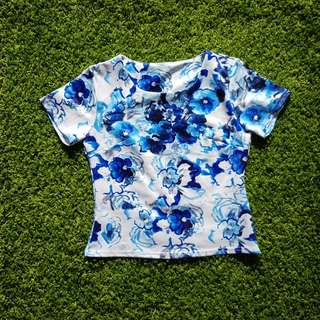 Blue-Floral Crop Tee (New)