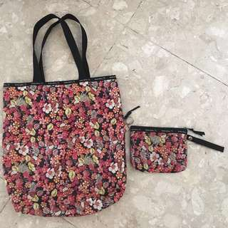 Hello Kitty floral tote bag and pouch
