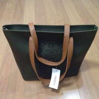 New:Olive green tote shoulder bag