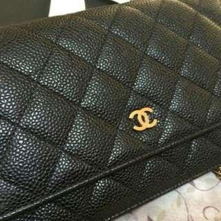 Chanel woc 黑荔枝皮金鍊