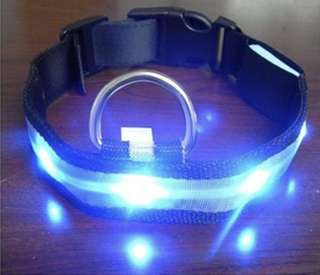 Blue LED Light Nylon Dog Collar