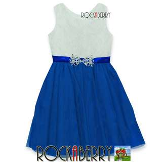 Rare Editions White Lace   Blue with Brooch Girl's Dress