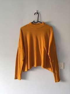 H&M Mustard Ribbed Mock Neck Pullover