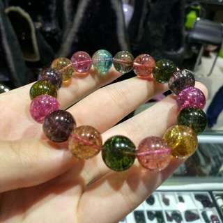 🆕收藏級天然極品彩虹碧璽手鏈Tourmaline 12mm 44g crystal