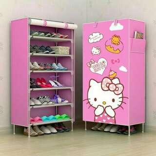 Rak sepatu kain lemari sepatu 6 ruang hello kitty
