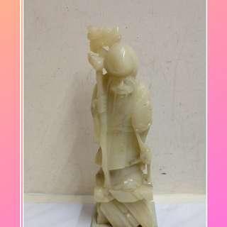白玉色福壽公,高度29cm