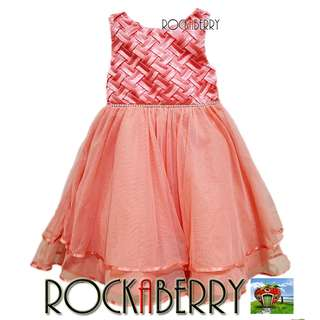 Rare Editions Peach Weave with Rhinestone Belt Girls Dress
