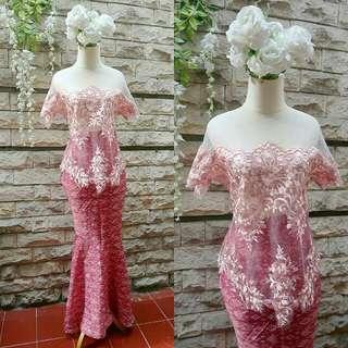 Pink kebaya + rok batik mermaid