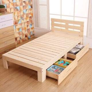 Single bed frame with 2 storage drawers (P.O.)