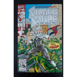 Silver Sable #1 (1992) Milestone 1ST Issue! Embossed Metallic Foil Cover  (Guest-starring SPIDERMAN!)