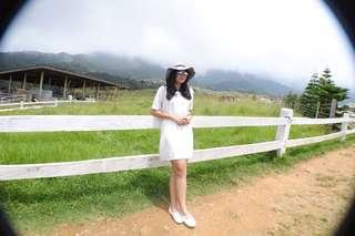 Collar Basic Dress White - Terusan Putih