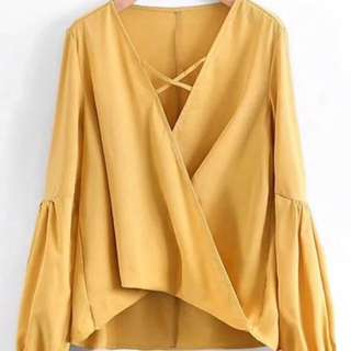BN Mustard High Low Crossed Front Blouse