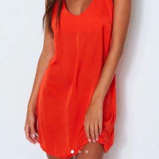 Red slip dress size small