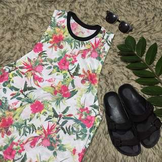 Floral Patterned Muscle Tee