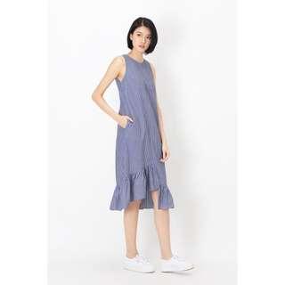 AFA VEDA BLOCK HEM STRIPE DRESS IN BLUE