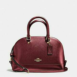 💯🆕Coach Mini Sierra Metallic Cherry Leather Satchel