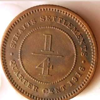 Old Strait settlement quarter cent Coins 1916
