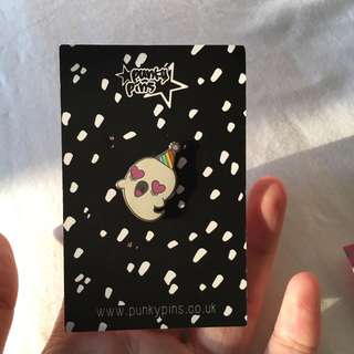 party ghost enamel pin