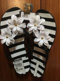Stripe floral slipper