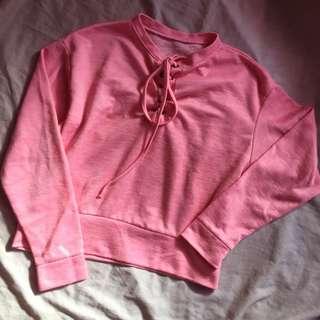 Pink knit long sleeves shirt